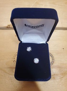 Cubic Zirconia Solitaire Post Earrings by Montana Silvermsiths