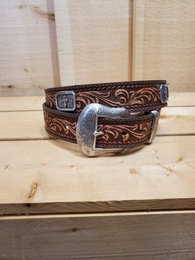 Scroll Tooling with Cross Concho Men's Belt by Nocona