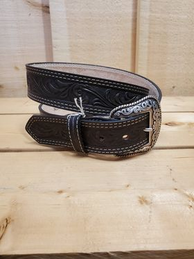 Dark Tooled Leather Men's Belt by Nocona