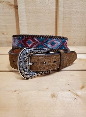 Brown Embroidered Women's Belt by Ariat