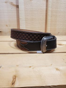 Geometric Tooled Leather Men's Belt by Hooey
