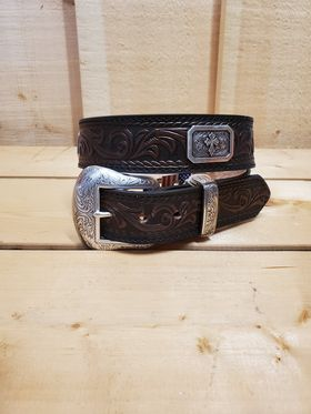 Dark Brown with Cross Concho Leather Men's Belt by Nocona