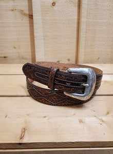 Tooled Diamond Leather Men's Belt by Justin