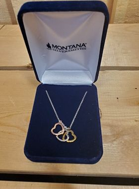 Trio Heart Charm Necklace by Montana Silversmiths