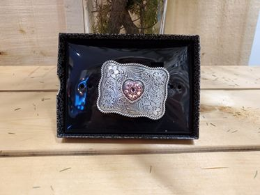 Small Pink Heart Buckle by Blazin Roxx