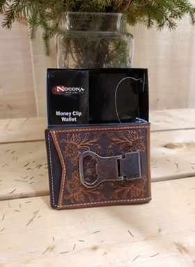 Tooled Leather Money Clip Wallet by Nocona