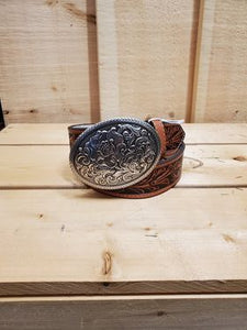 Floral Tooled Leather Women's Belt by Nocona