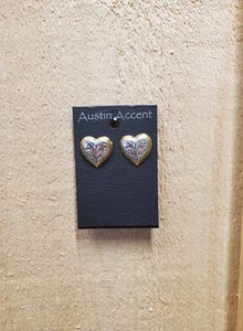 Gold & Silver Heart Earrings by Austin Accents
