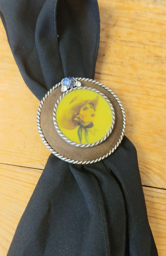 Retro Round Cowgirl Scarf Slide by Montana Silversmith