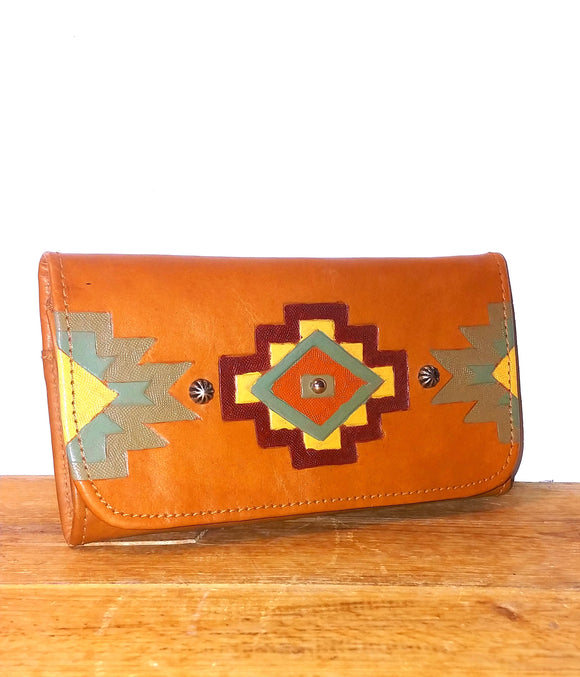 Genuine Leather Aztec Wallet by American West