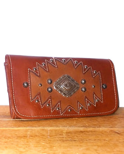 Genuine Leather Studded Aztec Wallet by American West