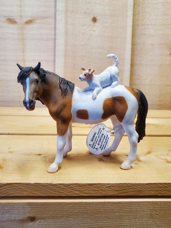 Skewbald Mare & Terrier Figurine by CollectA