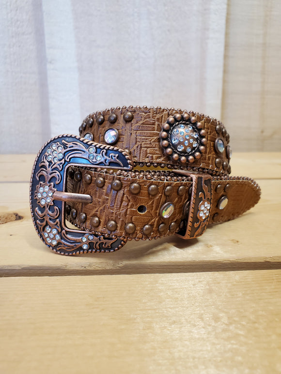 Brown Blingy Youth Belt by Angel Ranch