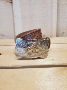 'Bronco' Tooled Leather Youth Belt by Justin