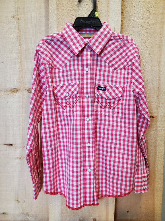 Hot Pink Plaid Girl's Shirt by Wrangler