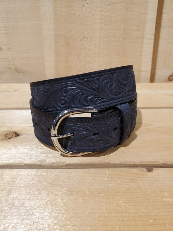 Black Oiled Western Scroll Leather Men's Belt by Justin