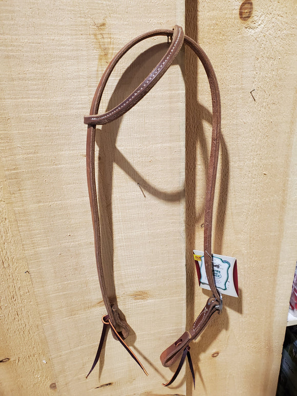 Oiled Harness Leather Sliding Ear Headstall by Weaver®