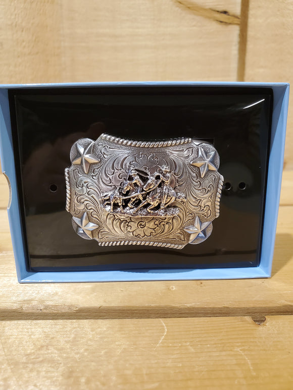 Small Team Roping & Stars Belt Buckle by Nocona®