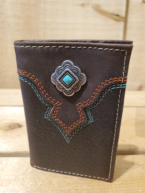 Aztec Concho Brown Tri Fold Men's Wallet by Nocona®