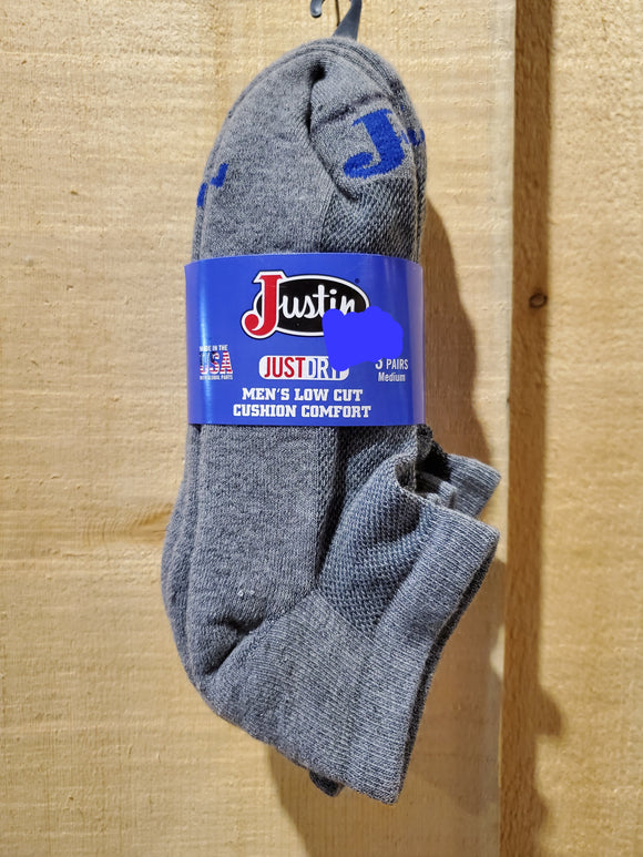 Men's Low Cut Cushion Comfort Socks-3 Pack by Justin®
