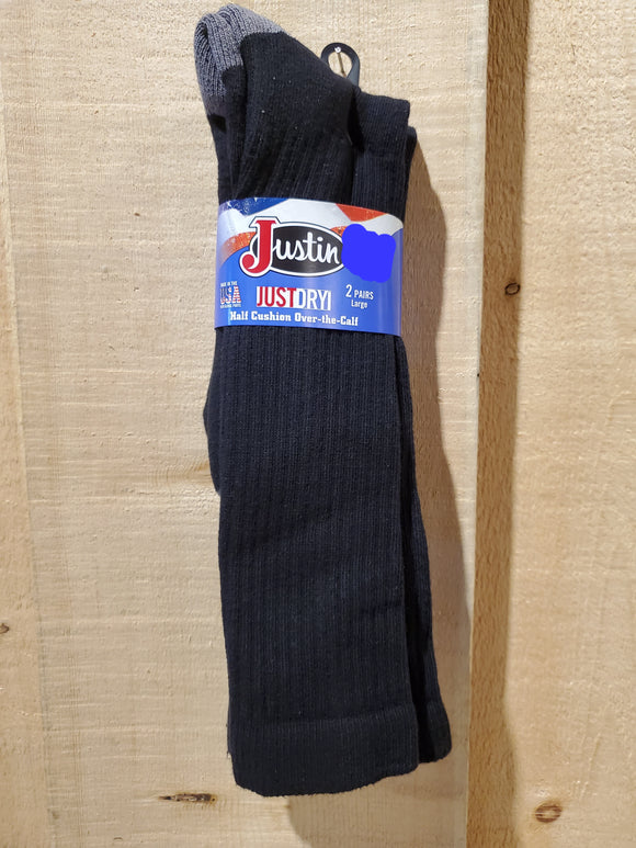 Half Cushion Wicking Over-the-Calf Socks - 2 Pack by Justin®
