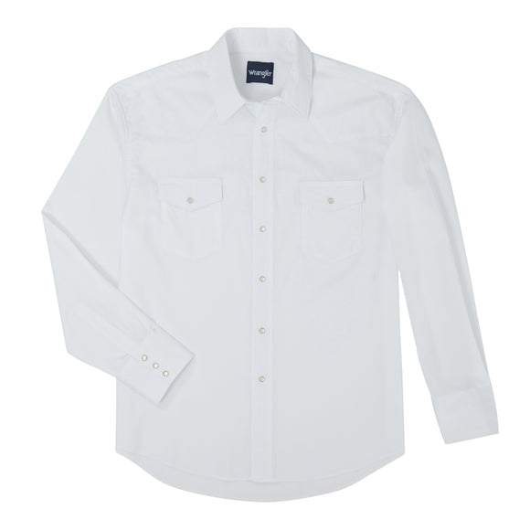 Solid White Men's Shirt by Wrangler