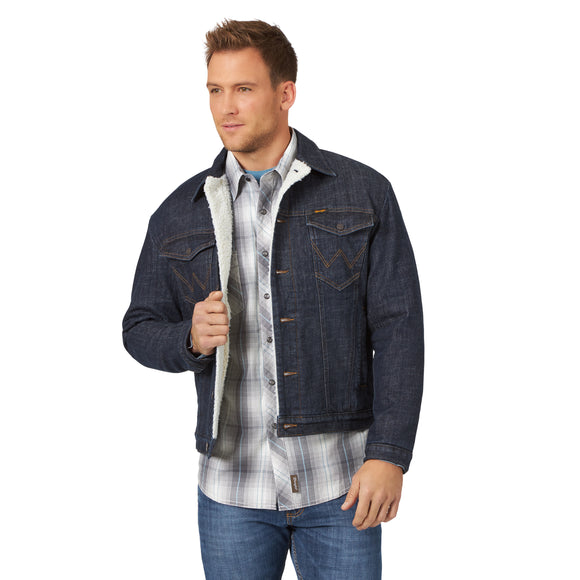 Sherpa Lined Dark Wash Retro Denim Men's Jacket by Wrangler