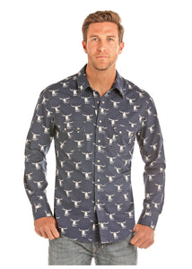 Navy Steer Icon Men's Shirt by Rock and Roll Cowboy