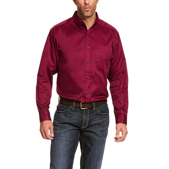 Magenta Solid Twill Men's Shirt by Ariat