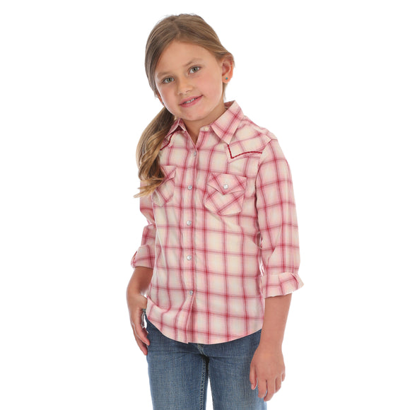Pink Plaid Girl's Shirt by Wrangler