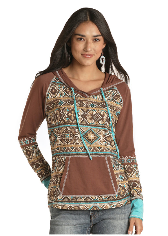 Brown and Teal Hooded Women's Top by Panhandle Slim