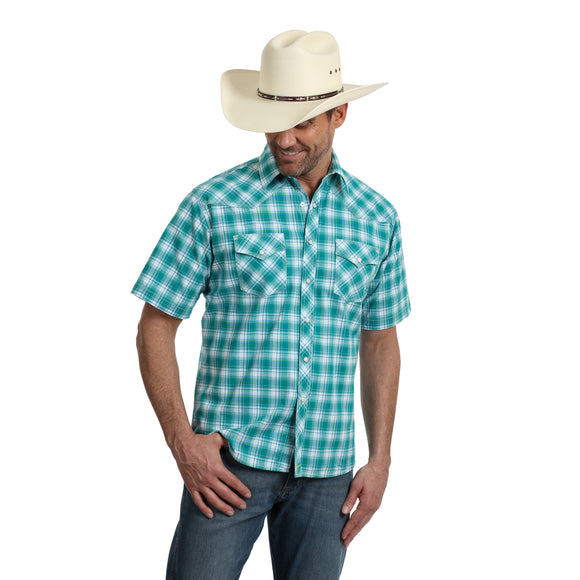 Teal Plaid Short Sleeve Competition Fit Men's Shirt by Wrangler