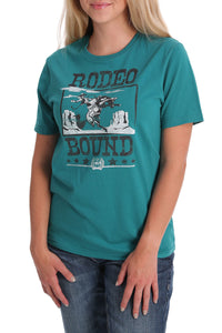 """Rodeo Bound"" Teal Women's Top by Cinch"