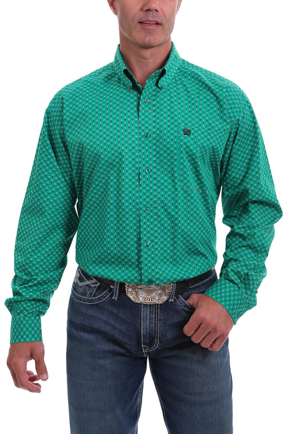 Kelly Green Geo Print Men's Shirt by Cinch