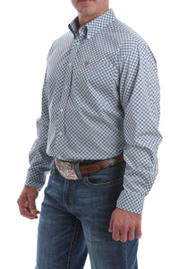 Blue and Bronze Geo Print Men's Shirt by Cinch