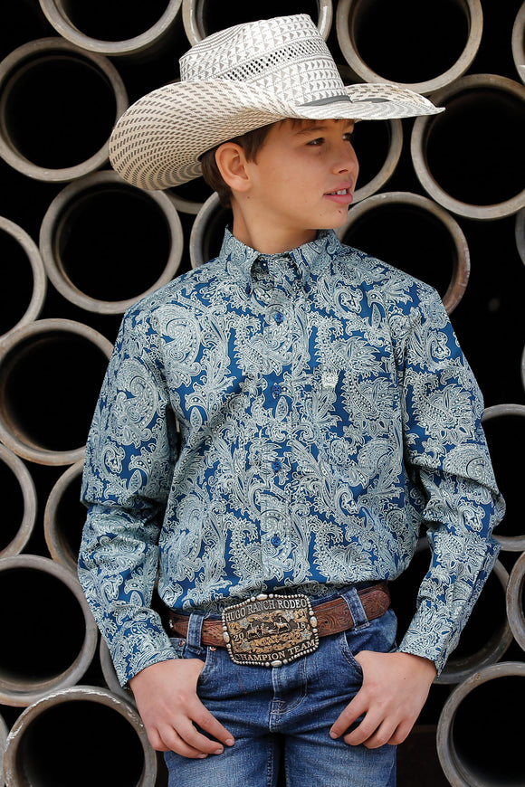 Blue Paisley Boy's Shirt by Cinch