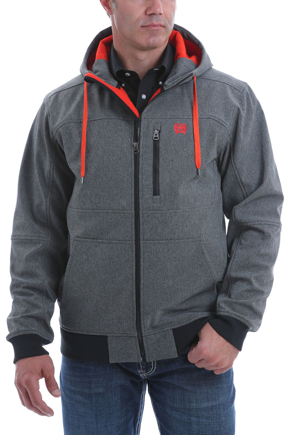 Heather Grey Hooded Bonded Soft Shell Men's Jacket by Cinch®