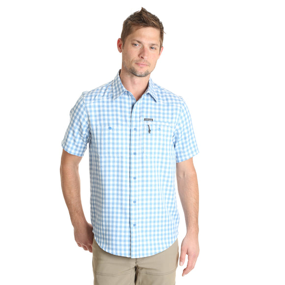 Blue Check Short Sleeve Men's T-Shirt by Wrangler