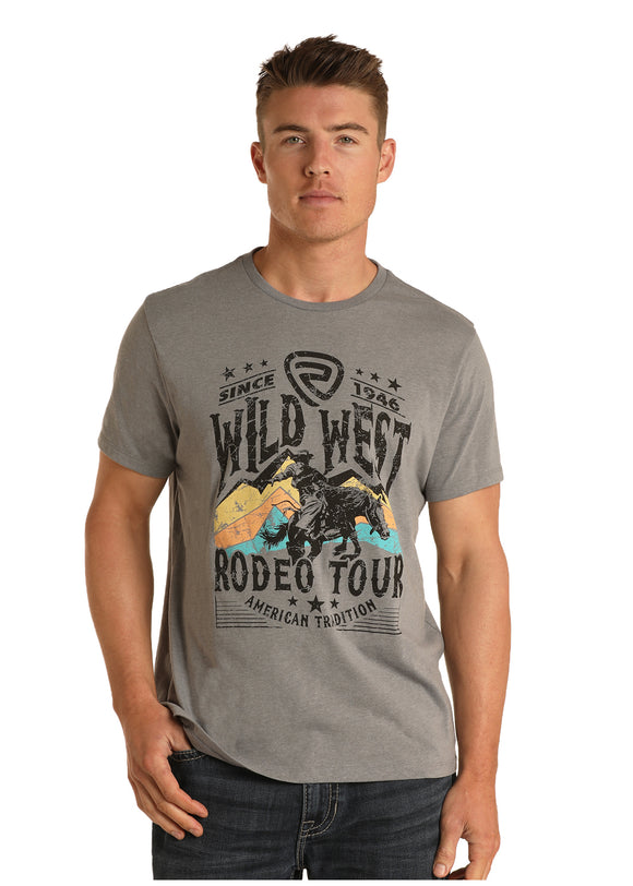 'Wild West' Grey Men's T-Shirt by Rock & Roll Cowboy
