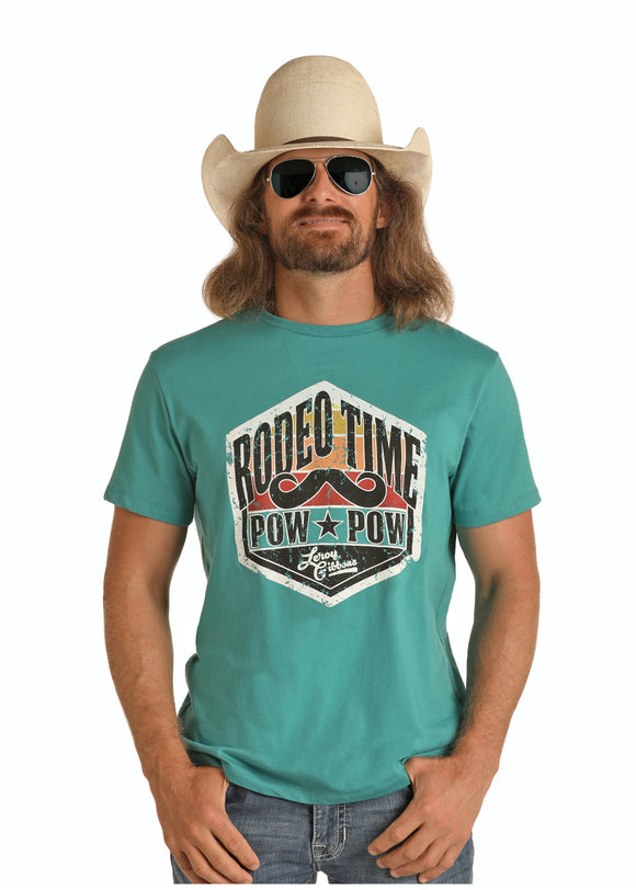 'Pow-Pow' Leroy Gibbons/Rodeo Time Men's T-Shirt by Rock & Roll Cowboy