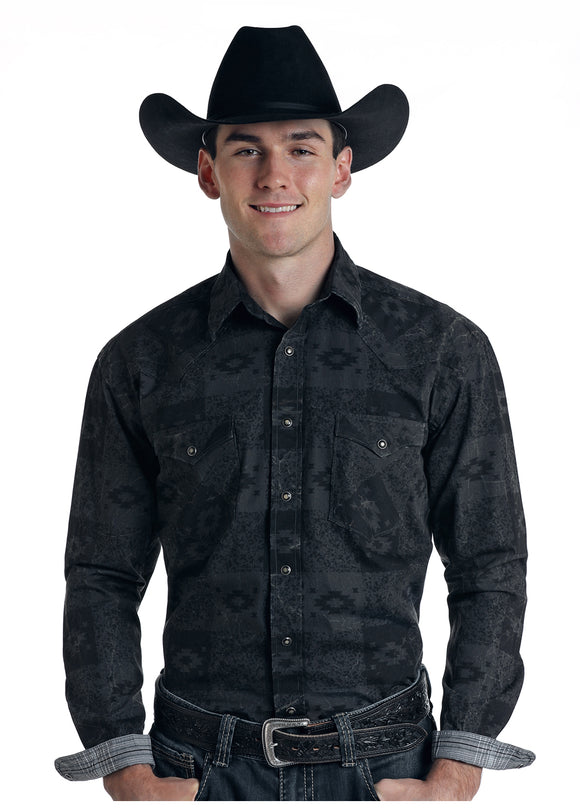 Black Aztec Men's Shirt by Panhandle Slim