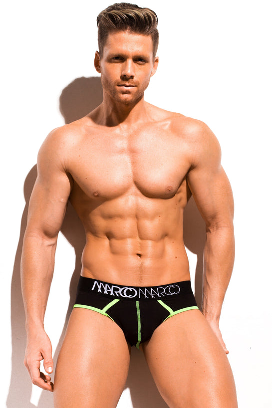 Designer Mens Underwear | Marco Marco | Neon Stitch Brief Black