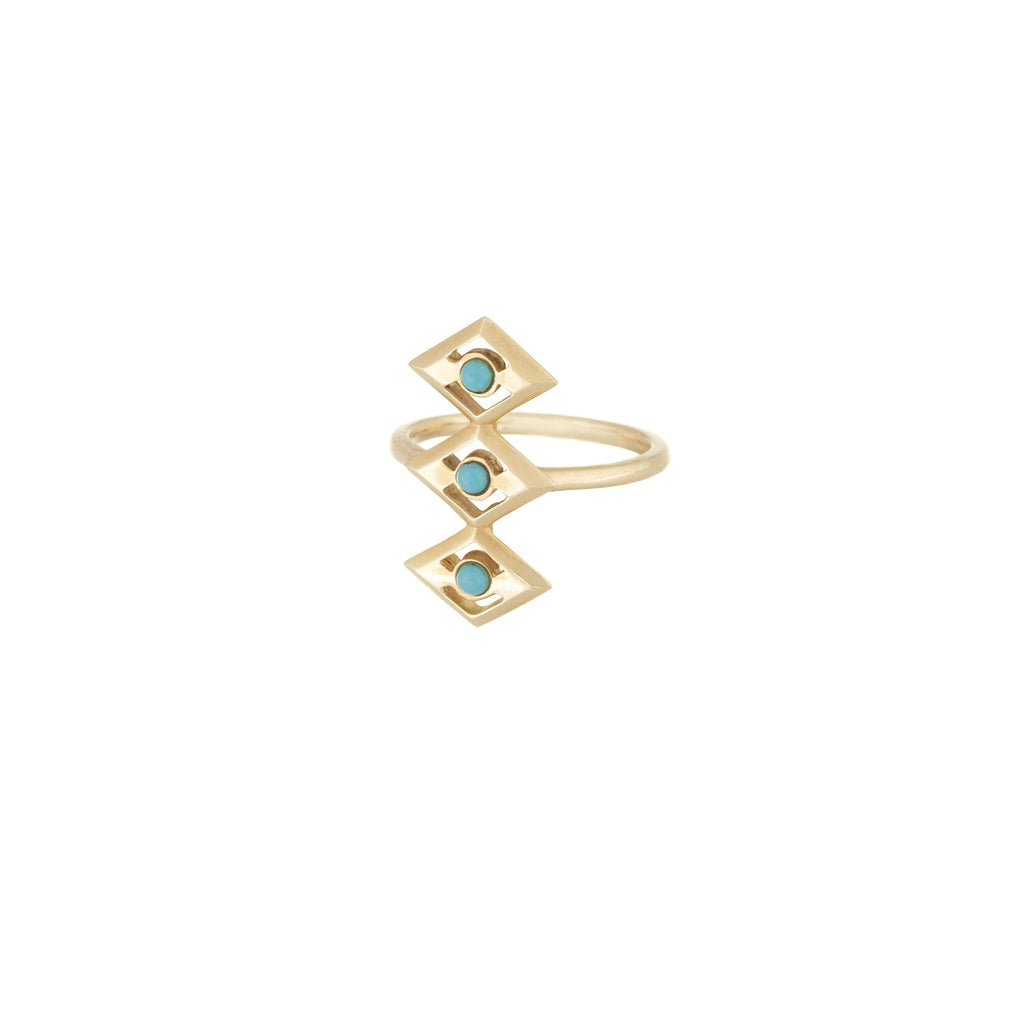 Turquoise Three Eye Ring in 18K