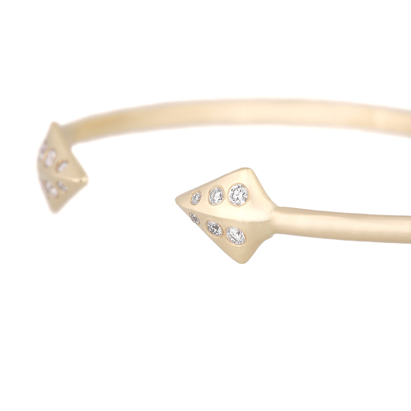 Diamond + Solid Gold Double Peak Cuff