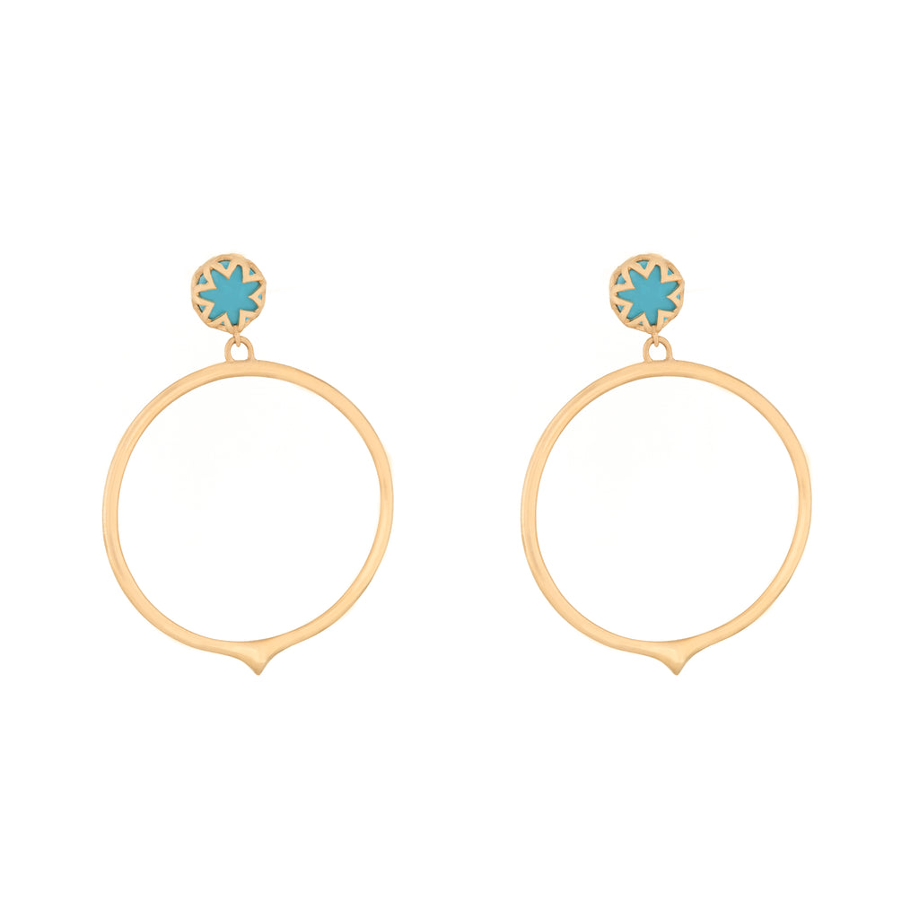 Turquoise Starburst Peak Hoop Earrings