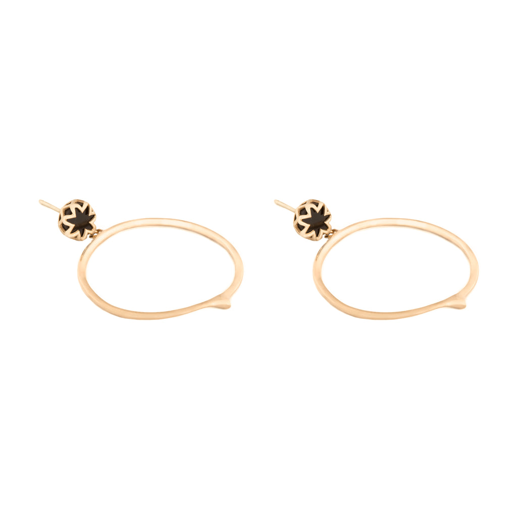 Black Onyx Starburst Peak Hoop Earrings