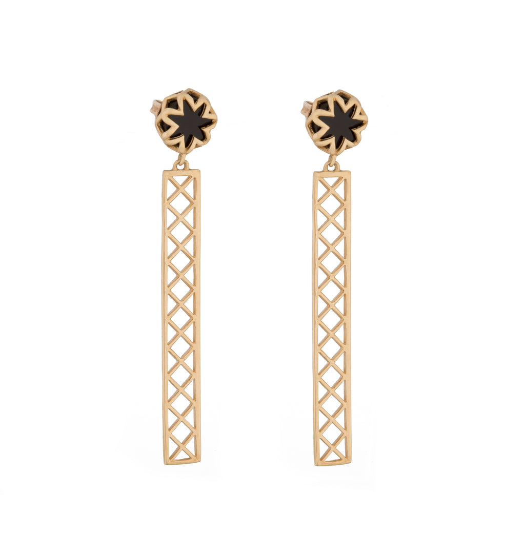 Black Onyx Starburst Studs with Shorty Bars