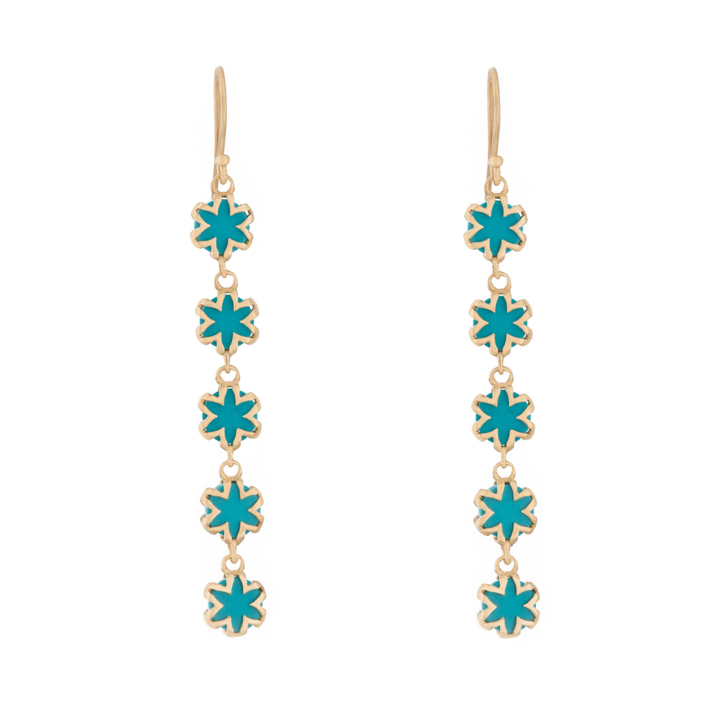 Turquoise Starburst Drop Earrings