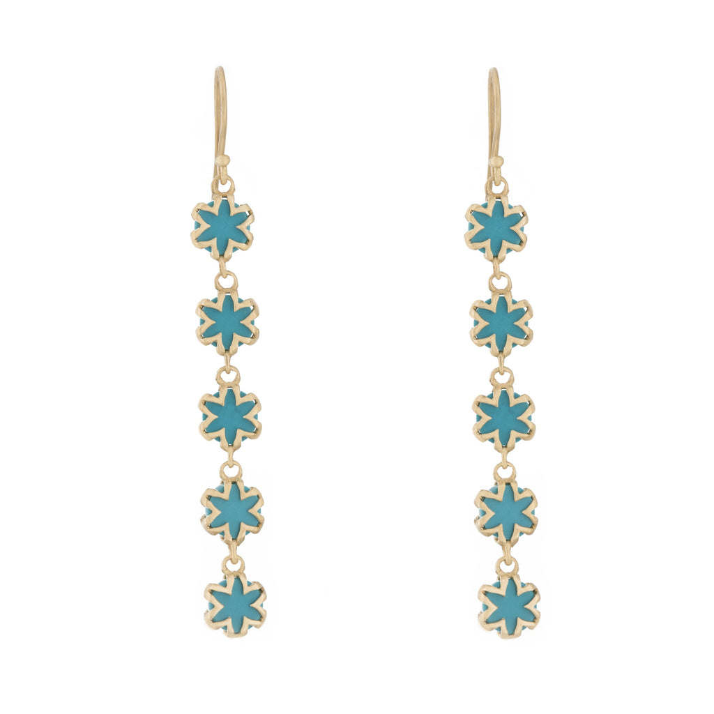 Turquoise Starburst Drop Earrings in 18k