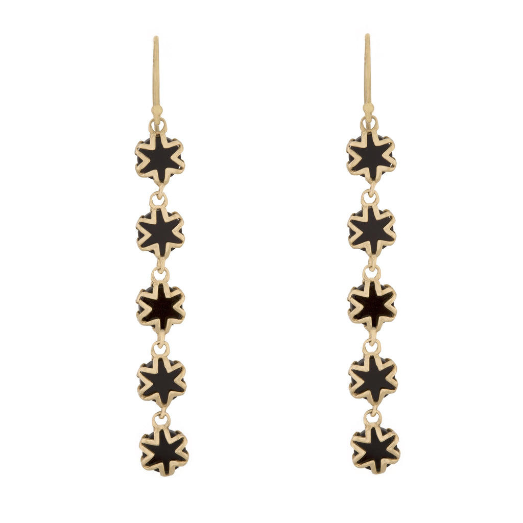 Black Onyx Starburst Drop Earrings in 18K